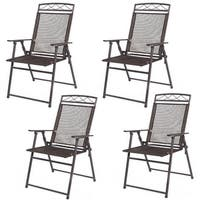 Costway Set of 4 Patio Folding Sling Chairs Steel Textilene Camping Deck Garden Pool - Coffee