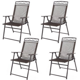 Costway Set of 4 Patio Folding Sling Chairs Steel Textilene Camping Deck Garden Pool
