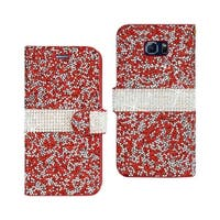 REIKO SAMSUNG GALAXY NOTE 5 JEWELRY RHINESTONE WALLET CASE IN RED