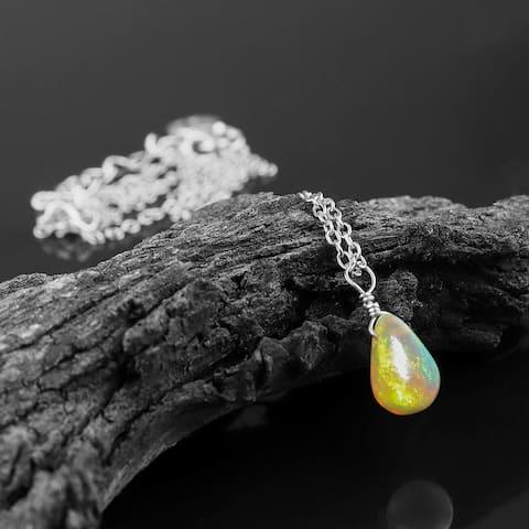 Evaluesell Handmade Sterling Silver Ethiopian Opal Gemstone Pendant Necklace - 0.8+ Carat