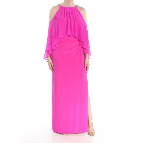 RALPH LAUREN Womens Pink Cold Shoulder Rhinestone Sheer Sleeveless Halter Full-Length Prom Dress Size: 8