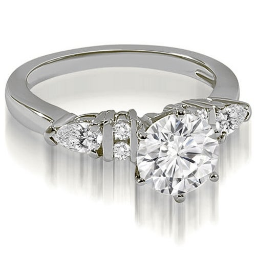 0.94 cttw. 14K White Gold Round and Pear cut Diamond Engagement Ring