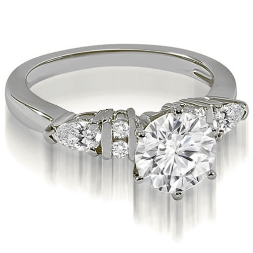 1.19 cttw. 14K White Gold Round and Pear cut Diamond Engagement Ring