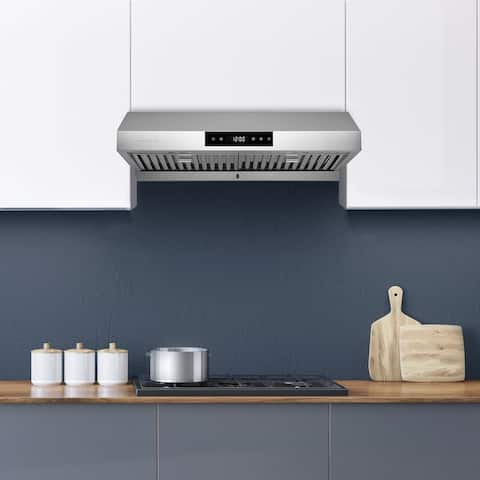 Hauslane PS18 Under Cabinet Range Hood, 860 CFM, LED, Baffle Filters, 3-Way Venting, Available in Different Colors