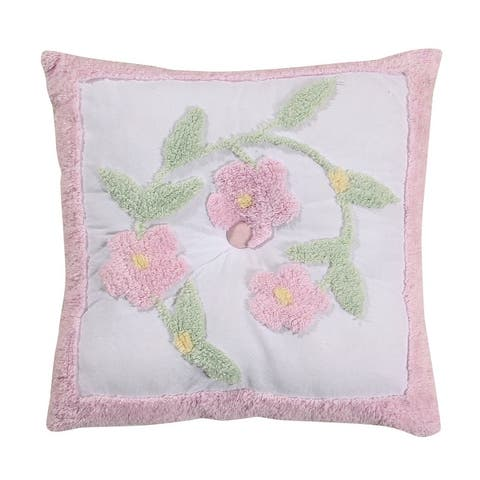 Better Trends Bloomfield Collection in Floral Design 100% Cotton Tufted Chenille, Square Pillow
