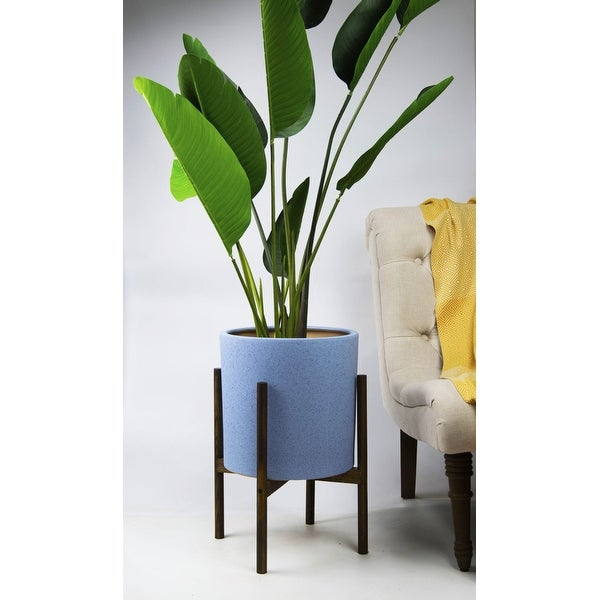UPshining 13'' Extra Large Mid-Century Modern Ceramic Planter Sky Blue With Wood Stands. Opens flyout.