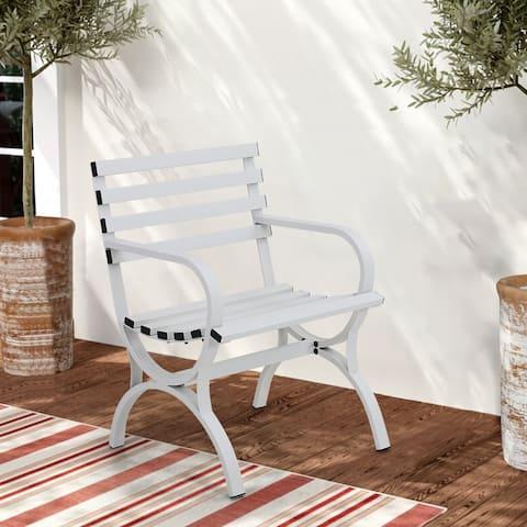 Sophia & William Outdoor Garden Bench Patio Metal Park Bench Single Metal Chair