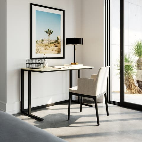 """Lucas 48"""" Modern Industrial Large Home Office Writing Desk With Thick Wood Top, Black Metal Legs, And Cable Management"""