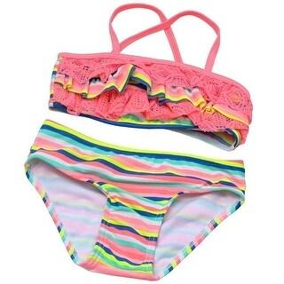 Hula Star Little Girls Multi Color Stripe Lace Bandeau 2 Pc Swimsuit 2T
