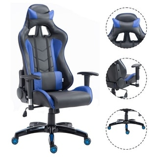 Costway High Back Executive Racing Reclining Gaming Chair Swivel PU Leather fice Chair