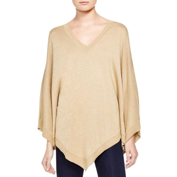MICHAEL Michael Kors Womens Poncho Sweater Metallic V Neck
