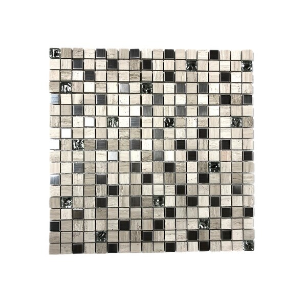 """Miseno MT-WHSPRE5858-PL Premium Linear - 5/8"""" Square Wall Mosaic Tile - Varied Glass and Stone Visual - White"""