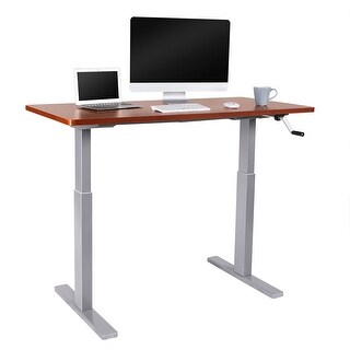 "Flexispot 55""W Manual Height Adjustable Sit Stand Desk Crank Office Desk Riser (Mahogany top + Grey Leg)"