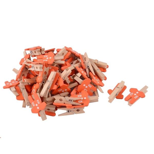 Card Photo Clothes Shape Crafts Spring Pegs Mini Wooden Clip Orange 50pcs