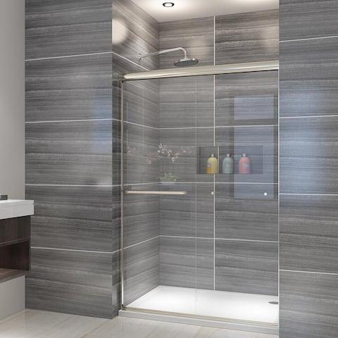 ELEGANT 48-60''W Semi-Frameless Double Sliding Shower Door Brushed Nickel