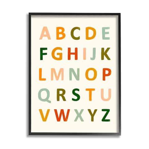 Stupell Industries ABC Letter Chart Soft Terracotta Earth Tone Alphabet Framed Wall Art - Multi-Color