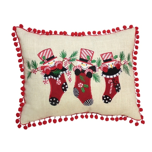 Pack of 2 Red and Beige Snowman Stocking Tassle Pillows 16.5""