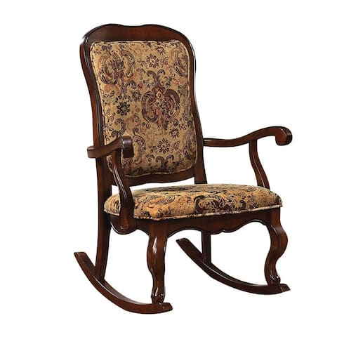 Q-Max French Provincial Style Scalloped apron Cabriole Front Legs Rocking Chair