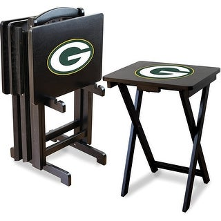Official Licensed Green Bay Packers NFL Football TV Snack Trays with Storage Racks (Set of 4)