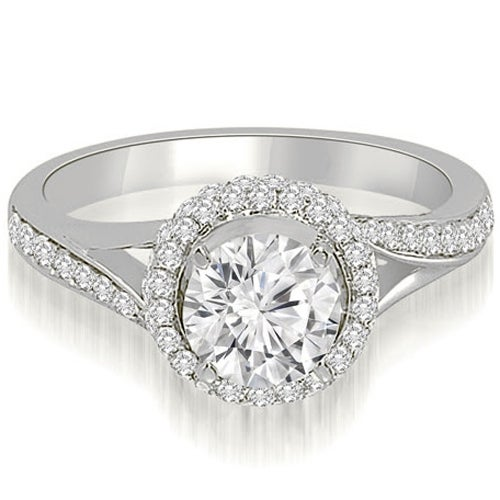 1.00 cttw. 14K White Gold Double Halo Round Cut Diamond Engagement Ring