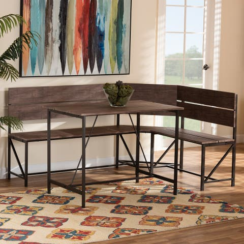 Marston Modern Industrial Wood and Metal 2-Piece Dining Nook Set