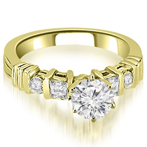1.04 cttw. 14K Yellow Gold Princess And Round Cut Diamond Engagement Ring
