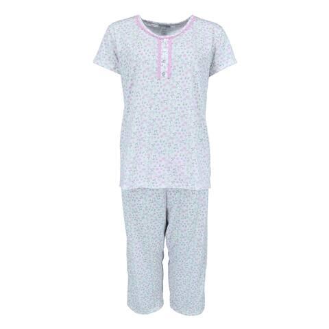 Elegant Emily Women's Floral Capri Pajama Set