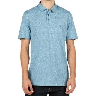 Volcom NEW Heather Blue Mens Size Small S Polo Rugby Short Sleeve Shirt