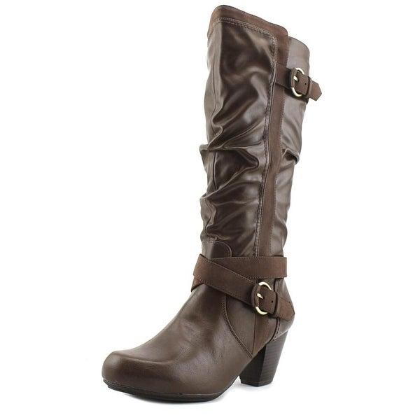 Rialto Crystal Round Toe Leather Knee High Boot