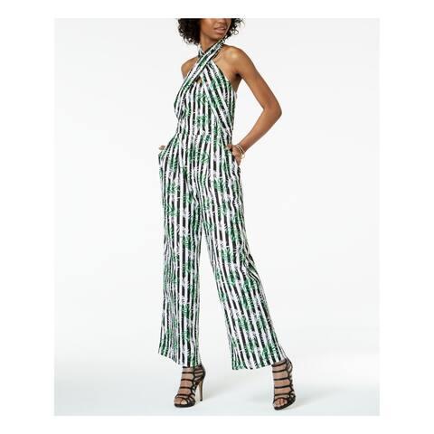 XOXO Womens White Striped Cross Front Halter Sleeveless Halter Straight leg Jumpsuit Size: M