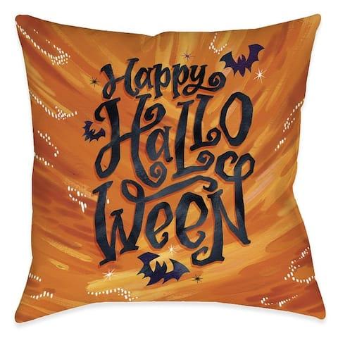 Happy Bat Halloween Outdoor Pillow