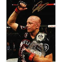 Georges St Pierre UFC MMA Holding Championship Belt 8x10 Photo