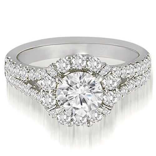 1.45 cttw. 14K White Gold Halo Split-Shank Diamond Engagement Ring