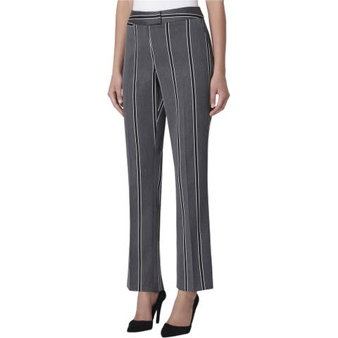 Tahari Womens Extended Tab Casual Trouser Pants, grey, 6