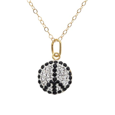 Crystaluxe Girl's Peace Sign Pendant with Swarovski elements Crystals in 14K Gold-Plated Sterling Silver