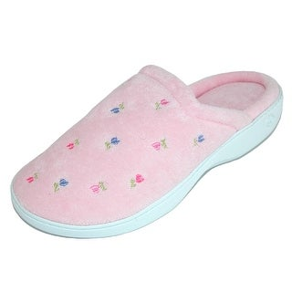 Isotoner Women's Extra Small Terry Embroidered Clog Slippers - xs 5.5-6