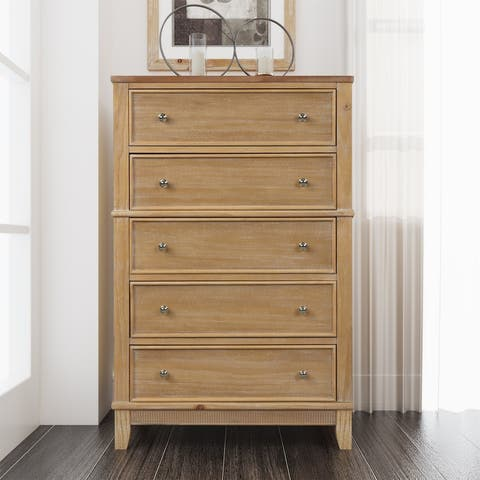 Chic Hazel Color 5 Drawers Chest Solid Wood,Pine Wood
