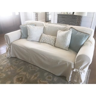 Shop Classic Slipcovers Brushed Twill Sofa Slipcover   Free Shipping Today    Overstock.com   458162