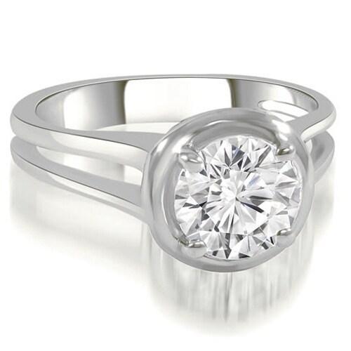 0.75 cttw. 14K White Gold Split Shank Halo Round Diamond Engagement Ring