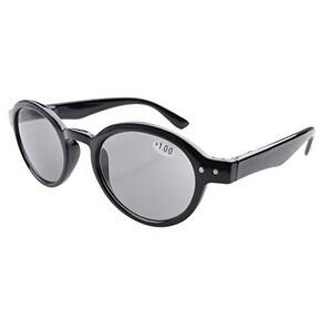 Eyekepper Spring Hinges Round Retro Reading Sunglasses Grey Lens +2.50