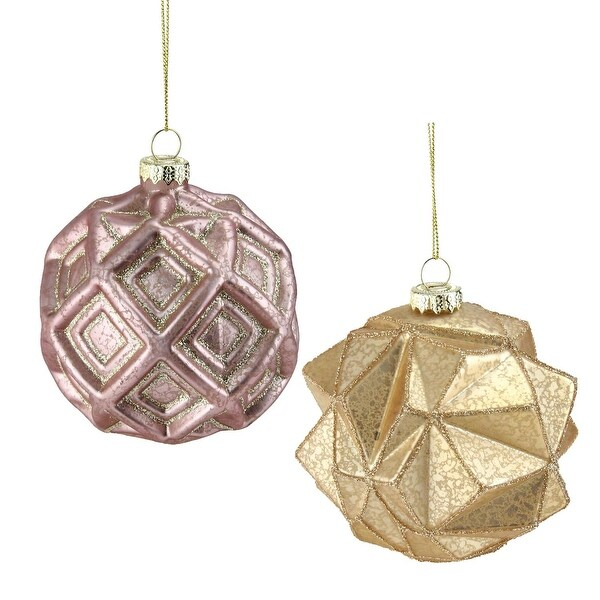Set of 2 Pink and Gold Geometric Mercury Glass Ball Christmas Ornaments 4""