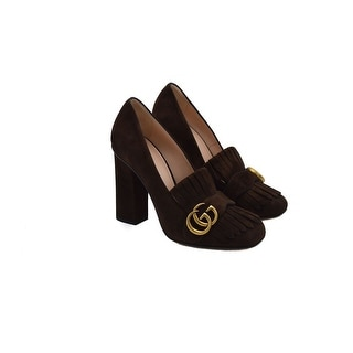 Gucci Womens Marmont Fringe Brown Suede Pump Size 38 / 8