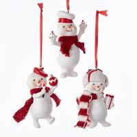 """Pack of 24 Assorted Red and White Snowkids Little Gentlemen Snowman Christmas Ornaments 4"""""""