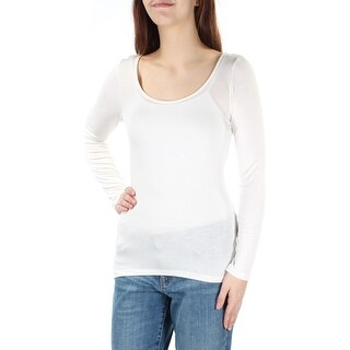 Womens Ivory Long Sleeve Scoop Neck Casual Top Size M