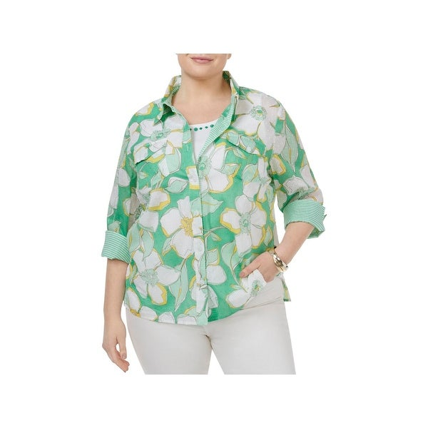 32eaca7fa2 Shop Alfred Dunner Womens Plus Button-Down Top Textured Floral Print ...
