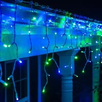 """Wintergreen Lighting 72028 9' Long Outdoor LED 5mm Icicle Lights with 6"""" Spacing and White Wire - Blue/Green - N/A"""