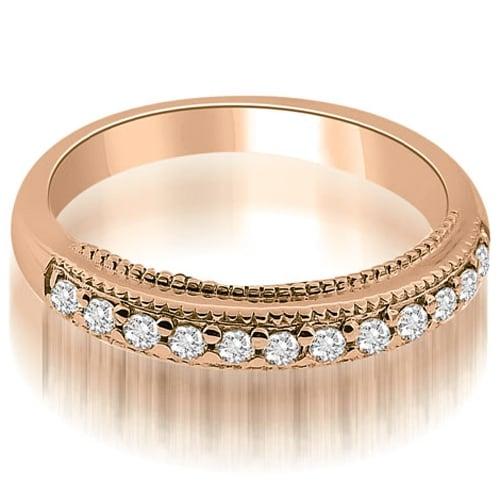 0.20 cttw. 14K Rose Gold Round Cut Milgrain Diamond Wedding Ring