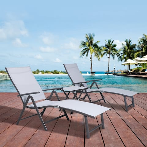 "Outdoor Aluminum Folding Adjustable Chaise Lounge Chair and Table Set - 24"" W x 45"" D x 37"" H"