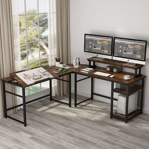 L-Shaped Computer Desk with Monitor Stand Riser