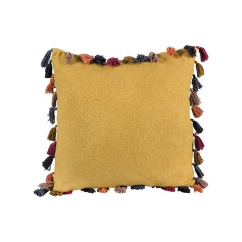 Mustard Textured Multi Colored Tassle Pillow Cover 20x20-inch Pillow Cover Only Soft Orchard Colors